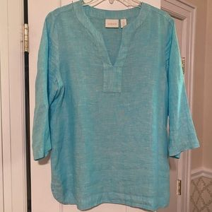 NEW Chico's Caribbean Blue Linen Top